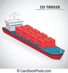 isométrico, contenedor, 3d, ilustración, vector, carga, petrolero, icono