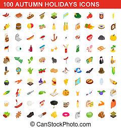 isométrico, convictos, conjunto, estilo, vacaciones, otoño, 100, 3d