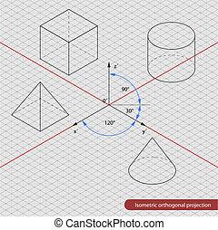 isométrico, cuadrícula, proyección, orthographic