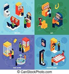 isométrico, cuadrado, iconos, juego, 4, máquinas