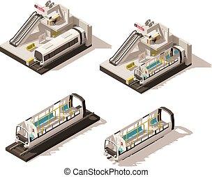 isométrico, cutaway, poly, vector, bajo, estación, metro