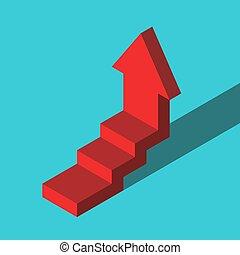 isométrico, dado paso, flecha roja