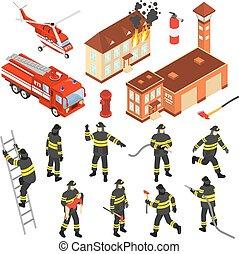 isométrico, departamento de bomberos, icono, conjunto