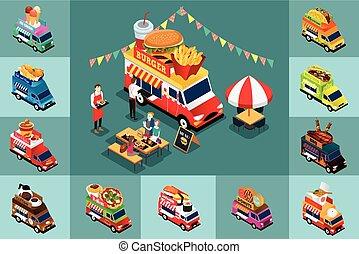 isométrico, diseño, de, diferente, alimento, camiones