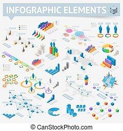 isométrico, diseño determinado, elementos, infographics