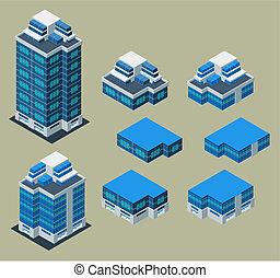 isométrico, edificio