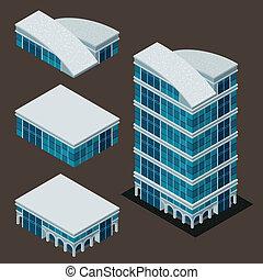 isométrico, edificio moderno
