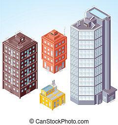 isométrico, edificios, #1