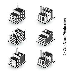 isométrico, edificios