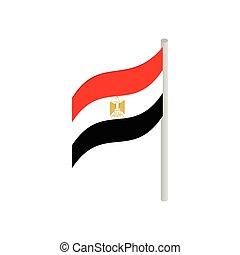 isométrico, egipto, estilo, bandera, icono, 3d