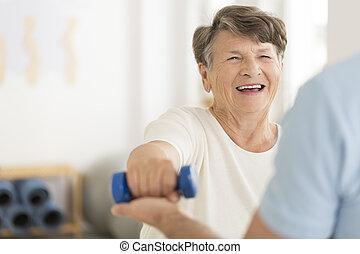 isométrico, ejercicios, pesa