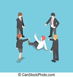 isométrico, empresa / negocio, señalar, gente, culpar, businessman., dedo