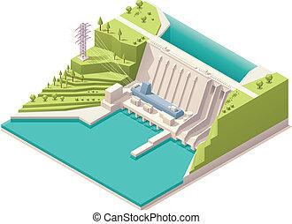 isométrico, estación, hidroeléctrico