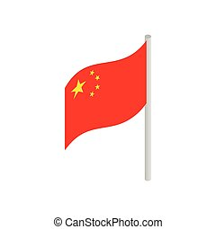 isométrico, estilo, bandera, china, icono, 3d