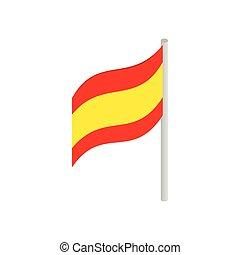 isométrico, estilo, bandera, icono, españa, 3d
