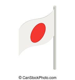 isométrico, estilo, bandera, icono, japón, 3d