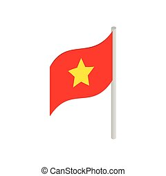 isométrico, estilo, bandera, vietnam, icono, 3d