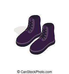 isométrico, estilo, botas, par, icono, macho, 3d