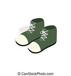 isométrico, estilo, botas, par, verde, icono, 3d