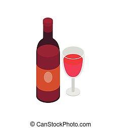 isométrico, estilo, botella de vidrio, icono, vino, 3d
