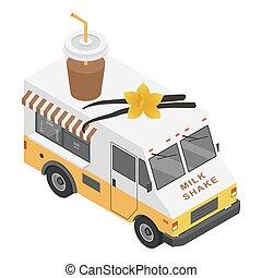 isométrico, estilo, camión, sacudida, icono, leche