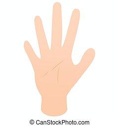 isométrico, estilo, dedos, cinco, icono, mano, 3d