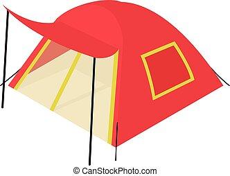 isométrico, estilo, icono, tienda, rojo, 3d