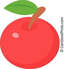 isométrico, estilo, manzanas, icono, rojo, 3d