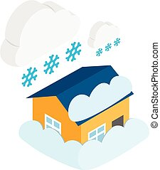 isométrico, estilo, nevada, icono
