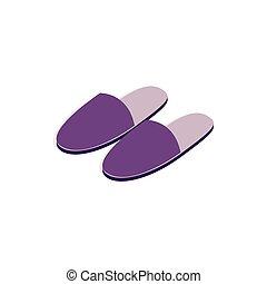 isométrico, estilo, par, icono, pantuflas, 3d