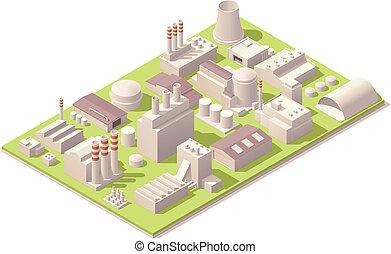 isométrico, fábrica, edificios