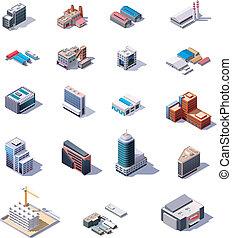 isométrico, fábrica, oficina, buildi