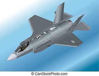 isométrico, f-35, caza