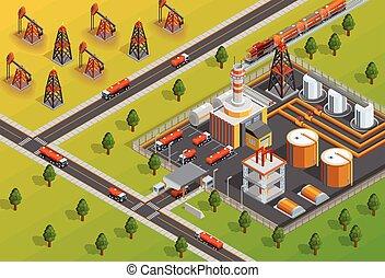 isométrico, facilidad, oill, cartel, industria, refinería