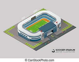 isométrico, futbol, estadio