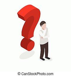 isométrico, gente, signo de interrogación