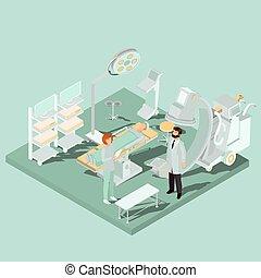 isométrico, habitación, equipo médico, vector, operar, ...
