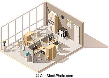 isométrico, habitación, oficina, poly, vector, bajo