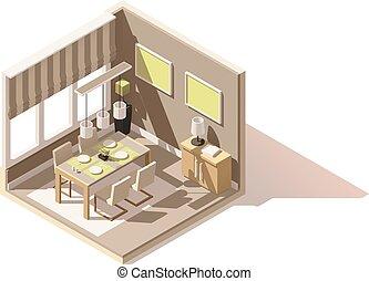 isométrico, habitación, poly, cenar, vector, bajo, icono