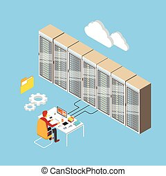 isométrico, habitación, trabajando, base de datos, técnico, centro, hosting, servidor, hombre, datos, 3d