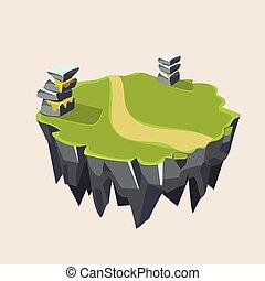 isométrico, herboso, isla, juego, piedra, ilustración,...