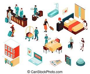 isométrico, hotel, iconos, conjunto