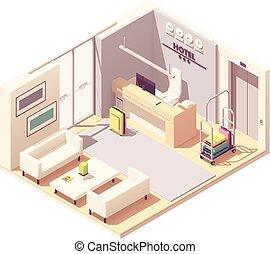 isométrico, hotel, vector, recepción