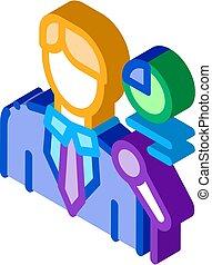 isométrico, icono, infographic, vector, ilustración, lector