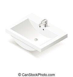 isométrico, icono, lavabo