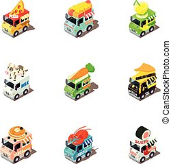 isométrico, iconos, alimento, automóvil, estilo, conjunto