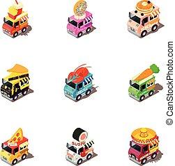 isométrico, iconos, alimento, coche, estilo, conjunto