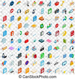 isométrico, iconos, conjunto, app, estilo, 100, 3d