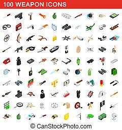 isométrico, iconos, conjunto, arma, estilo, 100, 3d