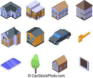 isométrico, iconos, conjunto, cabaña, estilo